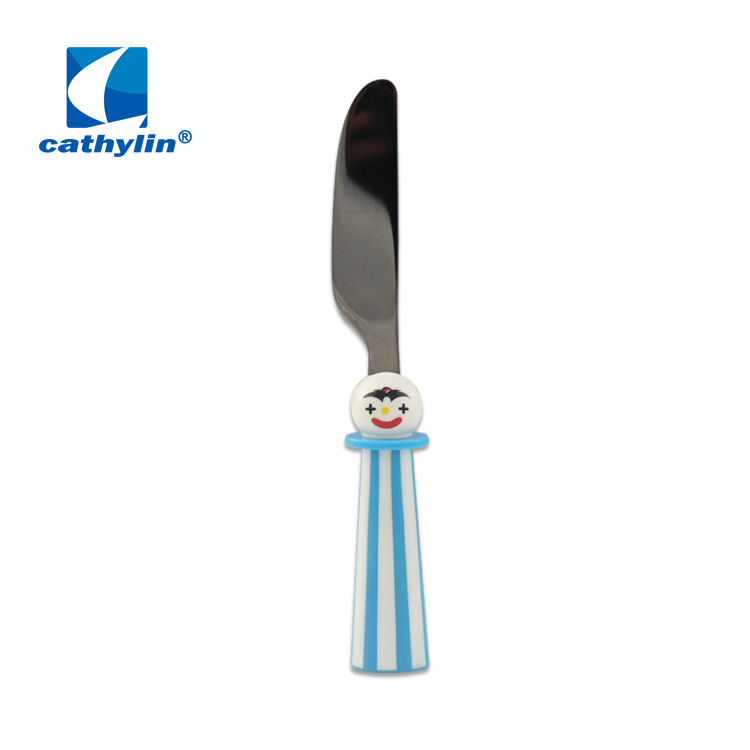 Cathylin 18/10 Stainless Steel Cartoon Pattern Kids Baby Cutlery Set With Two-color Striped Plastic Handle Children Flatware