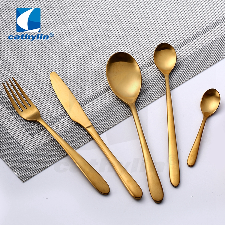 Cathylin 4-Pieces Hollow Handle Spoon Fork and Knife Stainless Steel Restaurant Cutlery