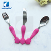 Cathylin baby cutlery set stainless steel flatware set with personalized plastic handle
