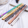 Reusable durable square 304 solid stainless steel brass gold black silver colorful printed wedding chopsticks color full