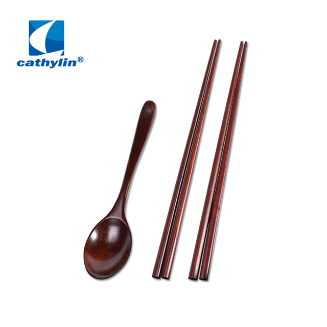 Spoon chopsticks cutlery set reusable natural bamboo flatware set for home use
