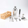 Bartender kit bar 750ml mixology tool set and stainless steel cocktail shaker set with stylish bamboo wooden stand base