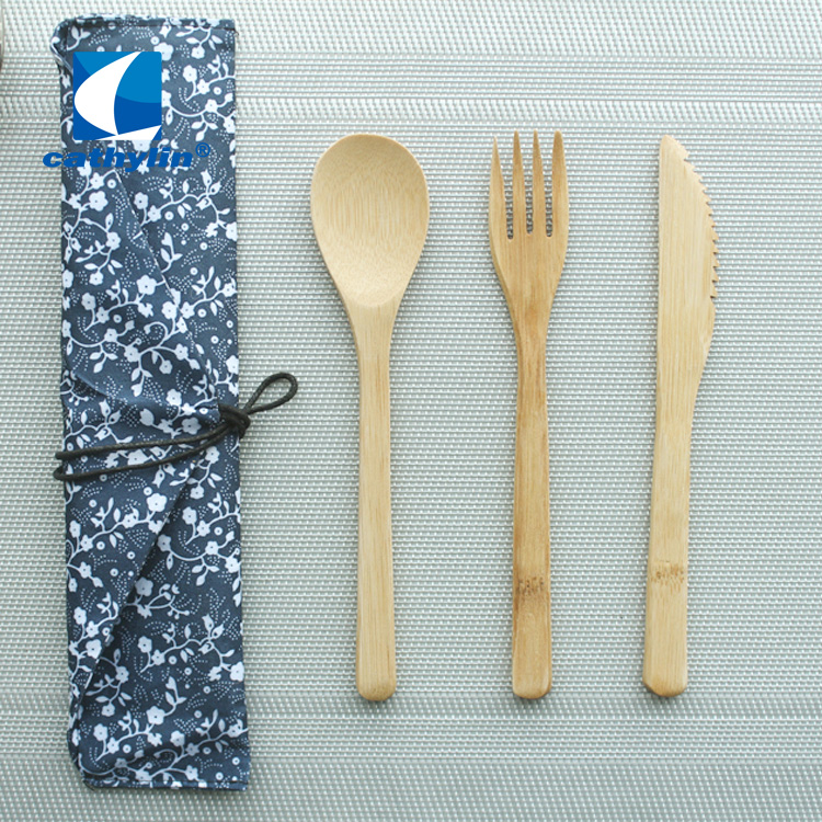 Cathylin 3pcs fork knife spoon flatware pouch reusable portable camping travel wooden cutlery set
