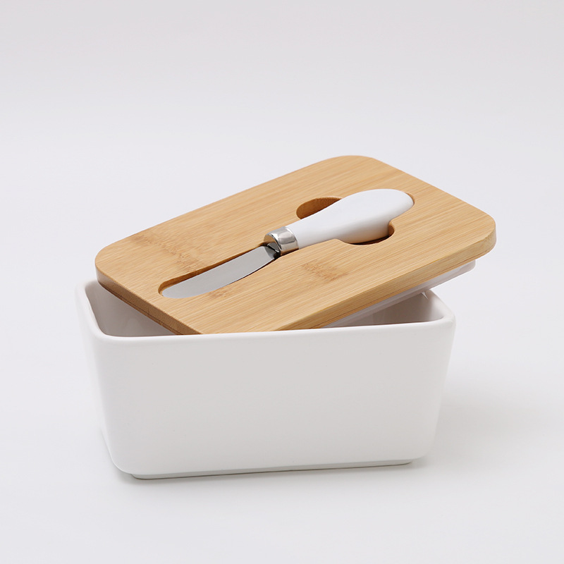 Large ceramic butter keeper container butter dish with knife spreader and wooden Lid