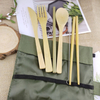 Wholesale eco friendly travel portable wooden flatware reusable organic bamboo fiber spoon fork knife and straw cutlery set
