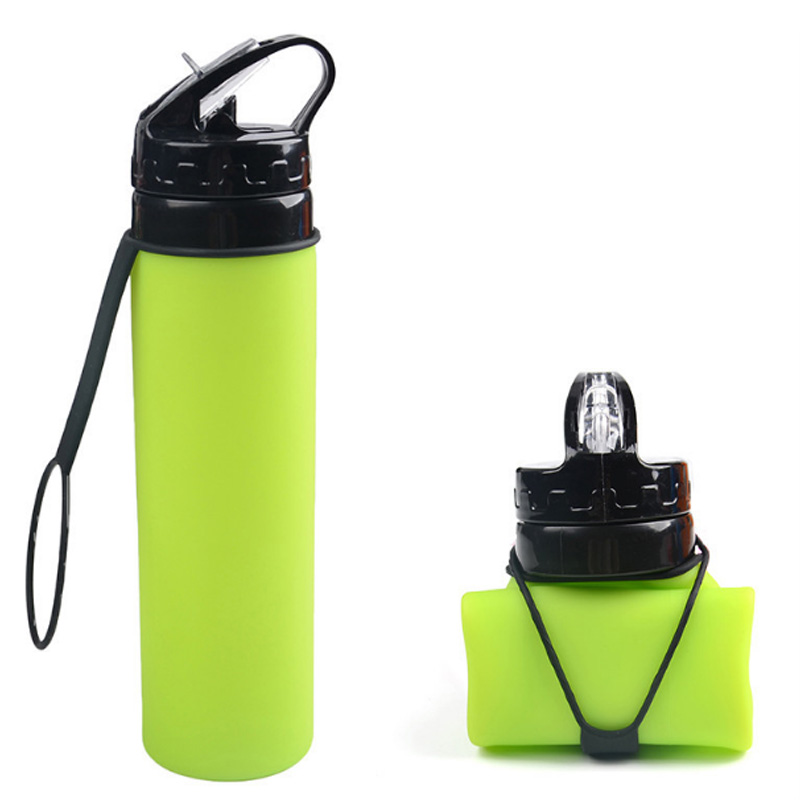 Energy transparent Silicone Collapsible Sports Plastic Drinking Water Bottle bpa free 600ML with logo