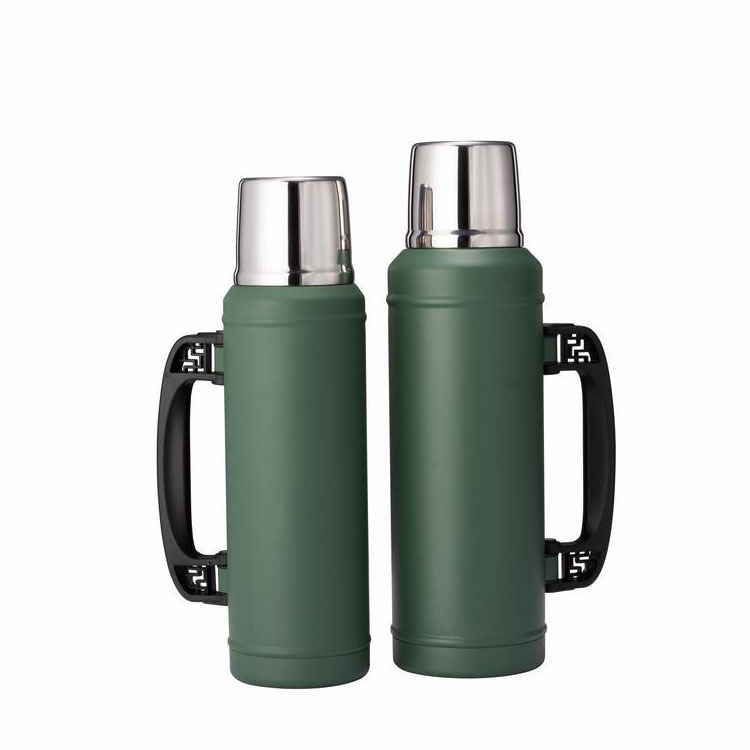 Portable camping travel water drinking cup 1200ml 1.2 L double wall stainless steel 304 thermos vacuum flask with handle