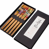 Wholesale bulk cheap prices japanese korean style printed reusable bamboo wood sushi chopsticks