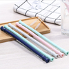 Hot sell food grade reusable folding collapsible foldable silicone drinking straw with brush