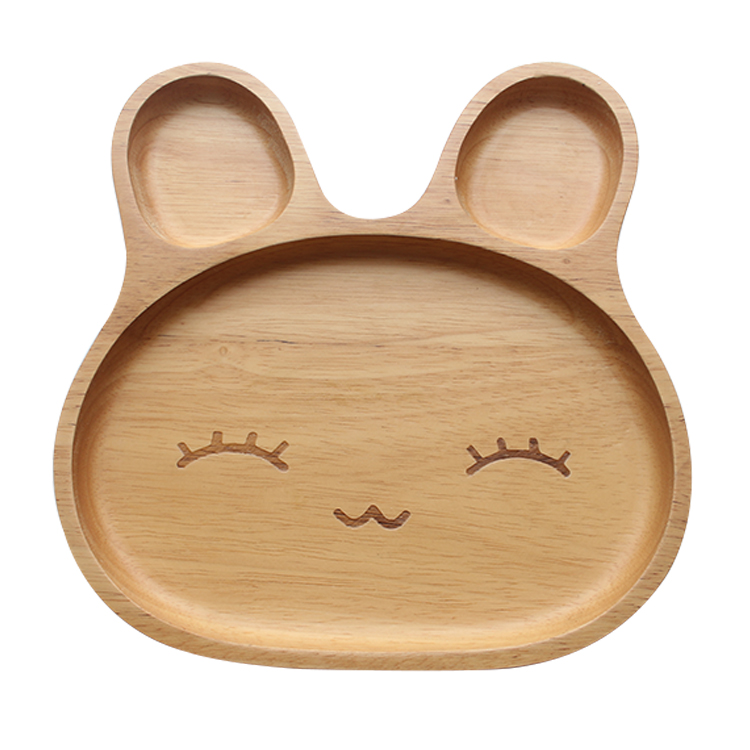 Eco-friendly wholesale kids lovely design dinner plate baby using animal design natural wooden plate