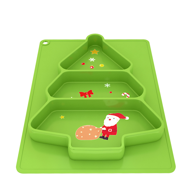 Non slip reusable christmas green color printing big plate educational learning table mat placemat for kid baby children