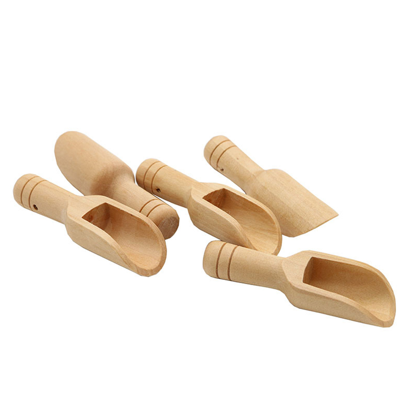 Wholesale small short bamboo wood candy buffet spoon cooking measuring mini flat wooden scoops for bath salts