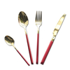 Cathylin Portugal New Design Luxury Stainless Steel Hotel Restaurant Red Handle Gold Plated Cutlery Set