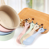 Reusable flatware kids baby bowl spoon tableware children wheat straw cutlery set